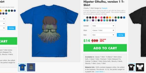 Teepublic: cthulhu designs, 3 day sale