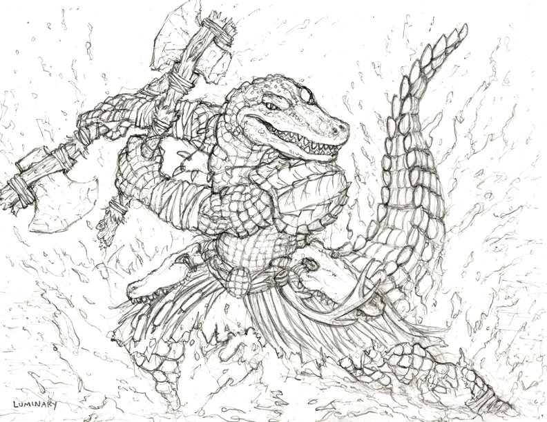Free Art Friday - Gatorman Barbarian