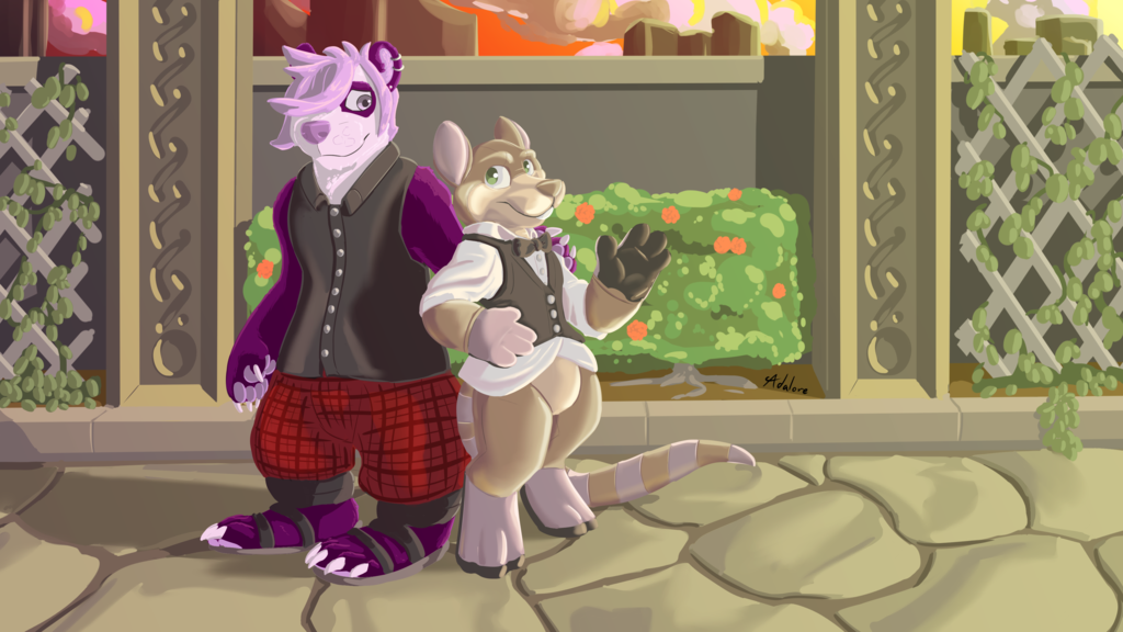 Commission - Daze-deer-leopard - Sunset Garden