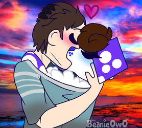 Bean and Shadow go kissy kissy