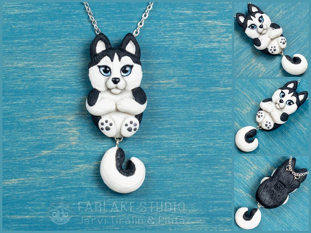 Chibi black husky full body pendant - for sale