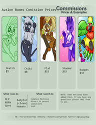 Comission price sheet