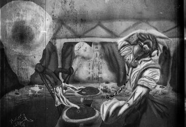 Art decoing DJing en noir et blanc