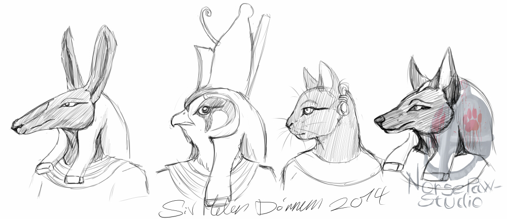 Warm-up sketch - Egyptian gods