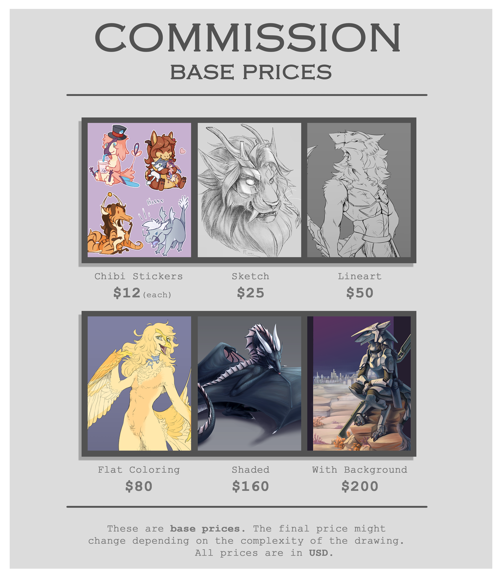 Most recent image: 2019 Commission Prices