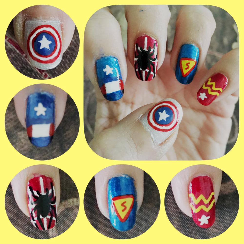 Super Hero Nail Art left