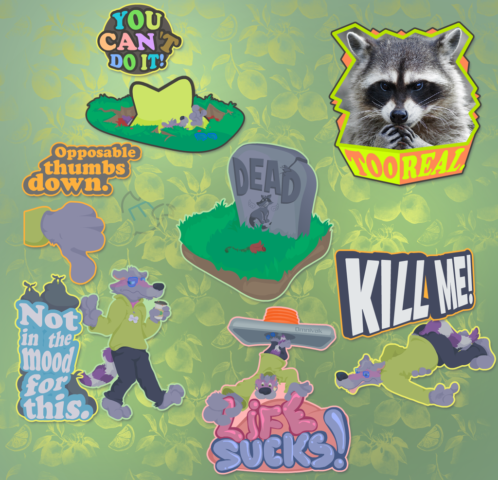 RACCOON THING TELEGRAM STICKER PACK: DOWNLIFTING
