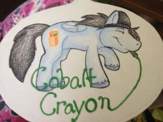 Huge Cobalt Crayon Badge vnv
