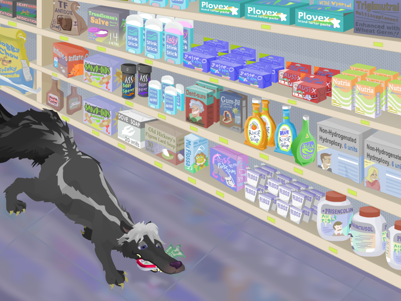 A SKUNK HOPES THAT THEY WILL SELL HIM THESE BREATH MINTS