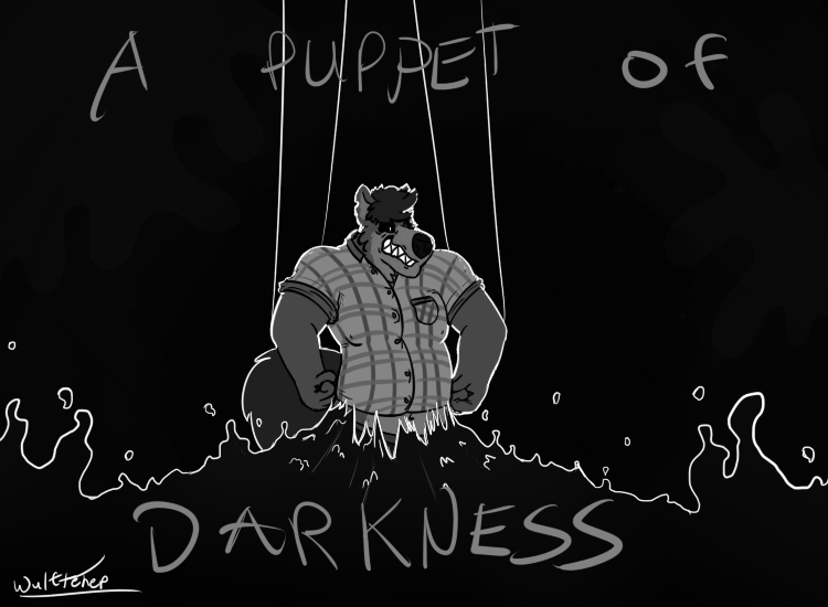 Most recent image: A Puppet of Darkness (grayscale)(words)