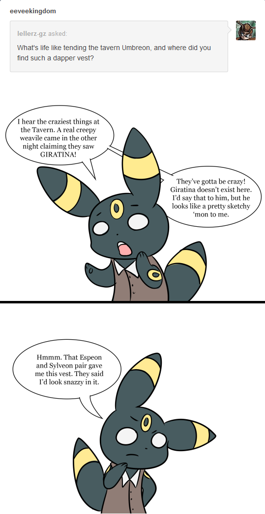 Ask Umbreon: Vests and Taverns