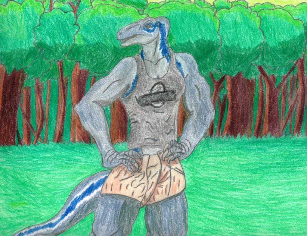Blue Anthro Raptor