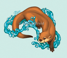 Splashing Otter Sticker