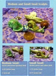 Medium and Smol Snail Sculptures (On Etsy Soon)