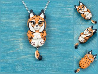 Chibi red lynx full body pendant - for sale