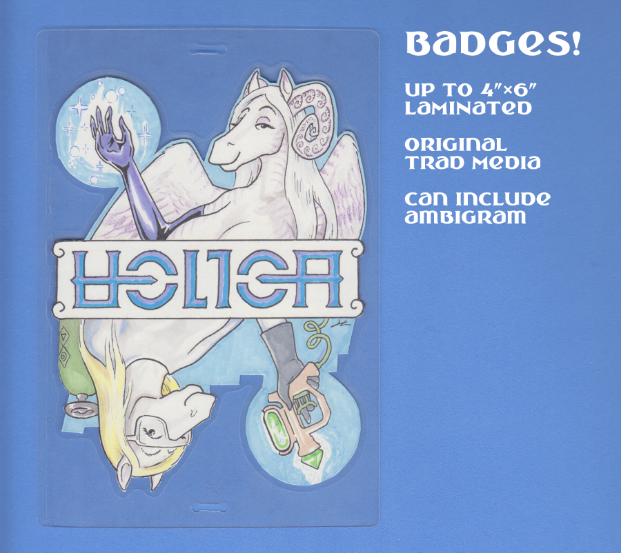 Most recent image: Helica badge