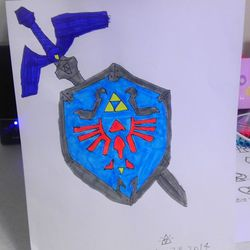 Hyrule shield and master sword