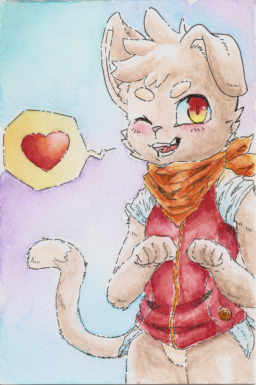 AJ pupcat postcard