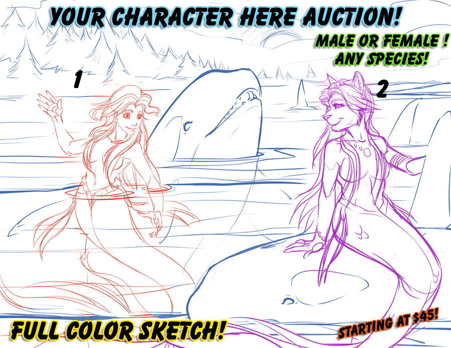 """YCH Full Color Sketch Auction """"Orca Bay """""""
