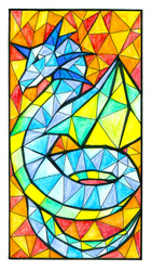 Stained Glass Dragon Inktober 5
