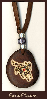 'African Wild Dog Tagua Totem Pendant' by Foxfeather