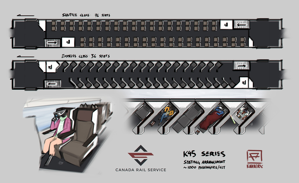 Canada Rail Service: K45 seating layout