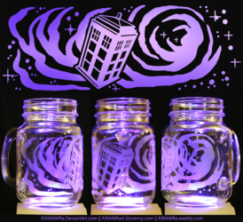 Etched Glass - Space Tardis