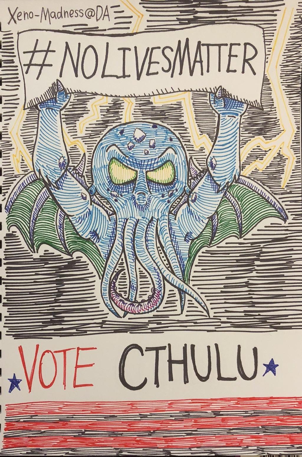 Inktober 8: Vote Cthulu