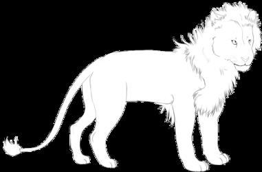 lion male linart