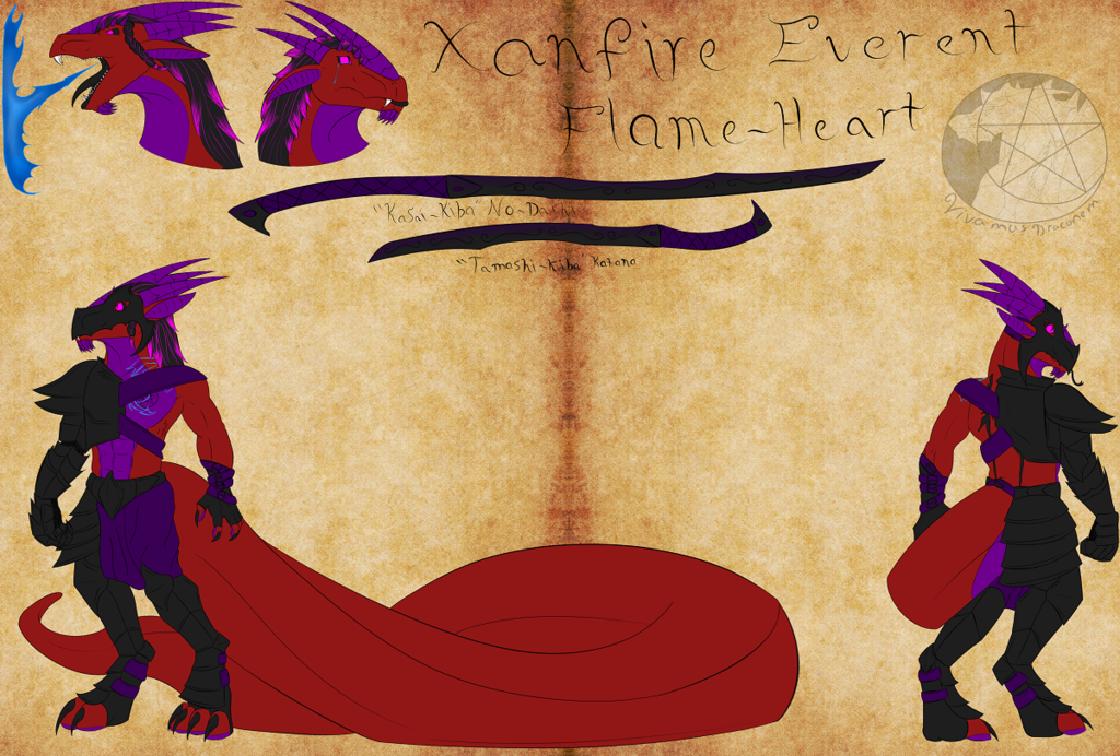 Ref-Sheet: Xanfire Everent Flame-Heart V.1
