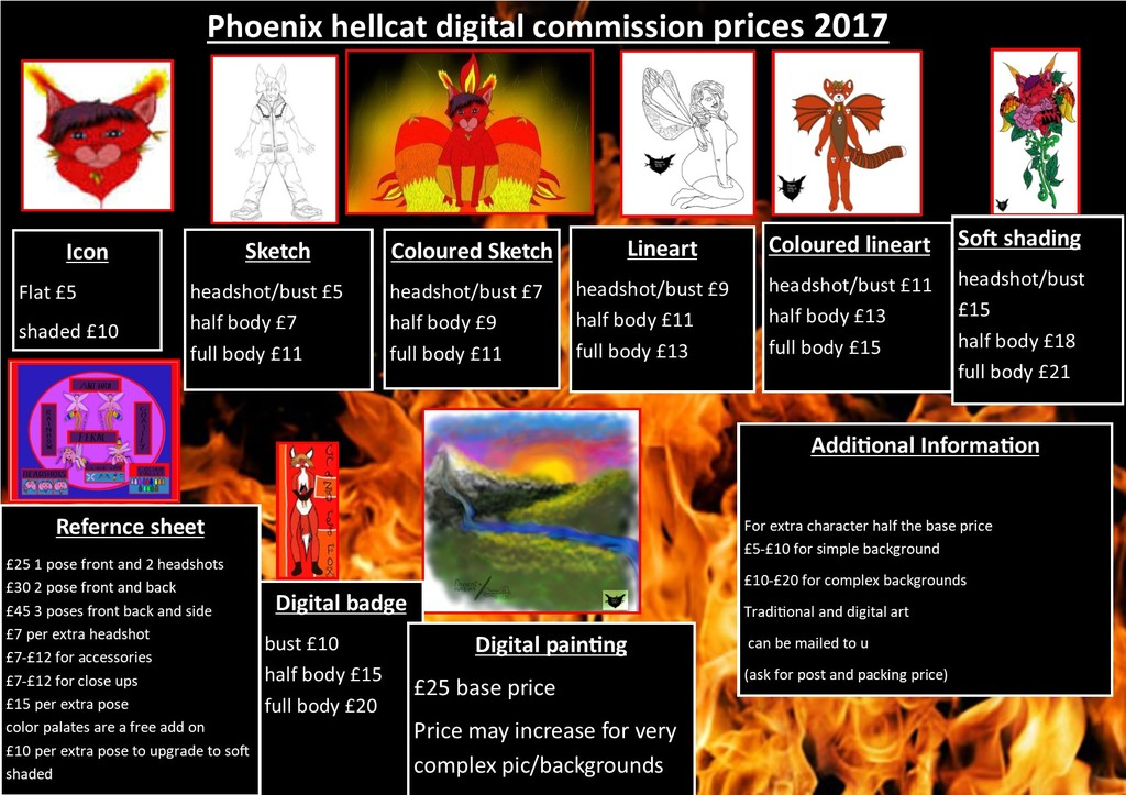digital commissions price sheet