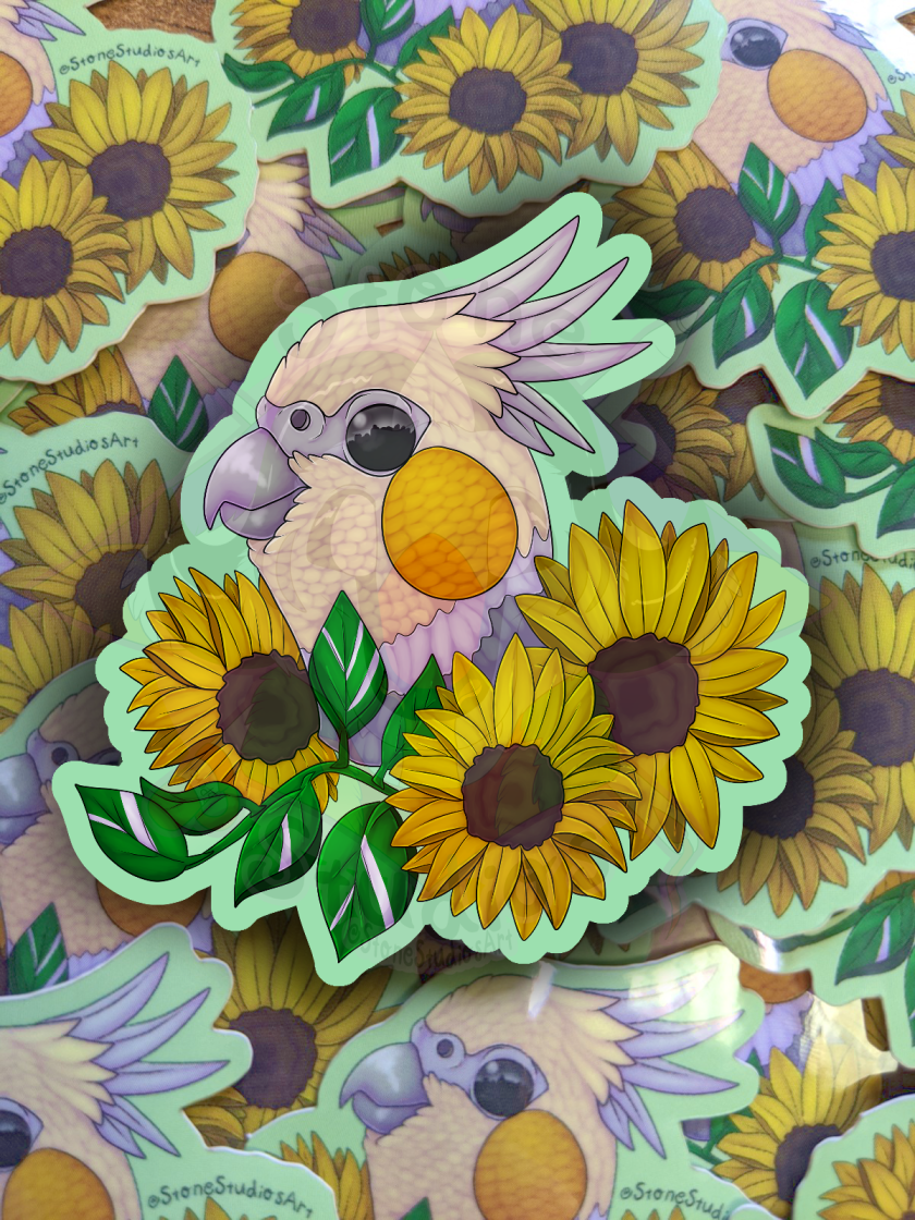 Cockatiel Sunflower Stickers NOW ON ETSY