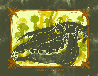 Horse Skull and Shrooms