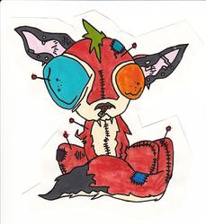 Watercolor Ragtag Voodoo Doll Badge