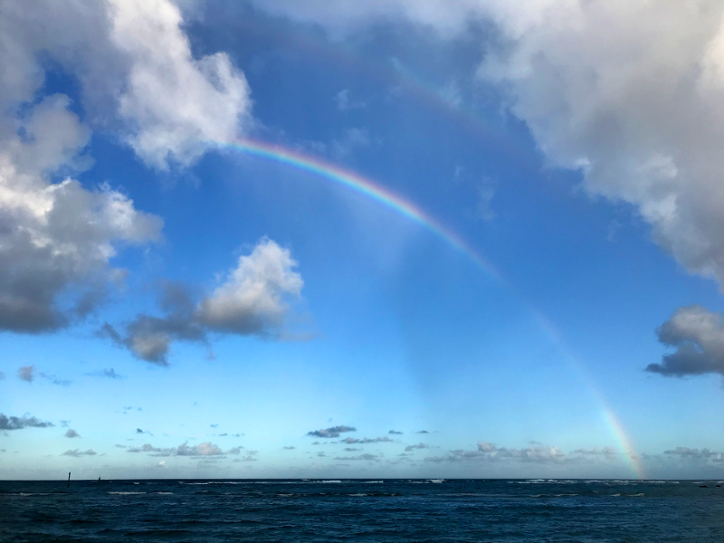 Hawaiian beach rainbow