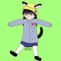 Chīsai in her kindergarten uniform