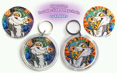 Double Sided Keychain: Toothy Opossum