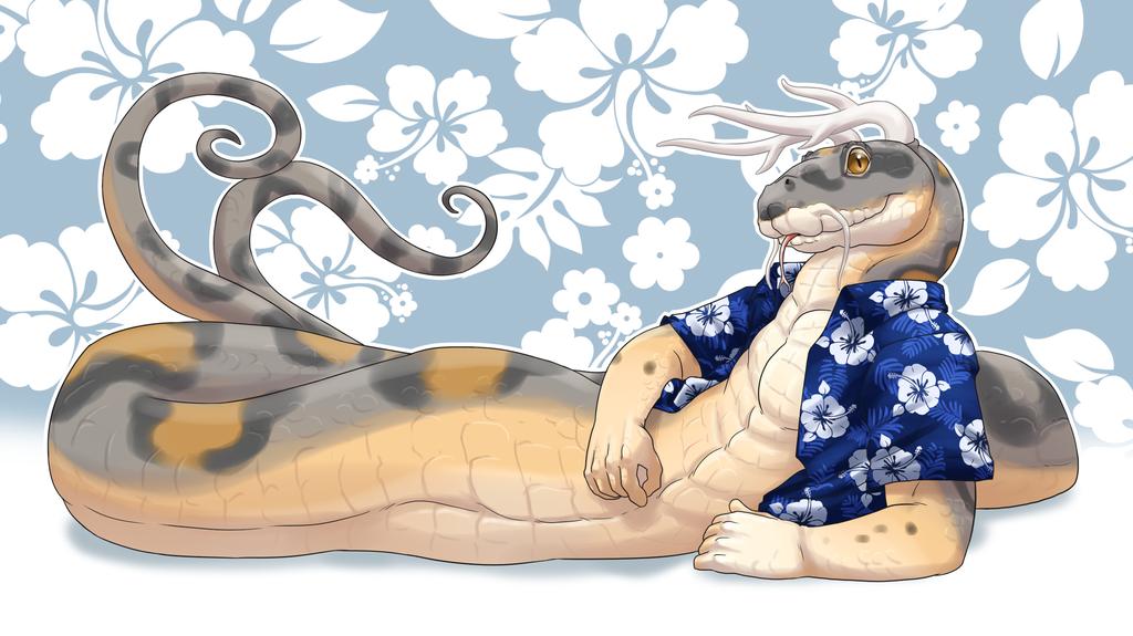 commission: lounging around the hawaiian shirt way