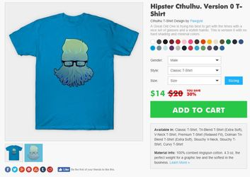 Teepublic: hipster cthulhu 0