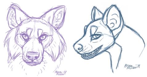 Floofy Wolf and Hyena Thing