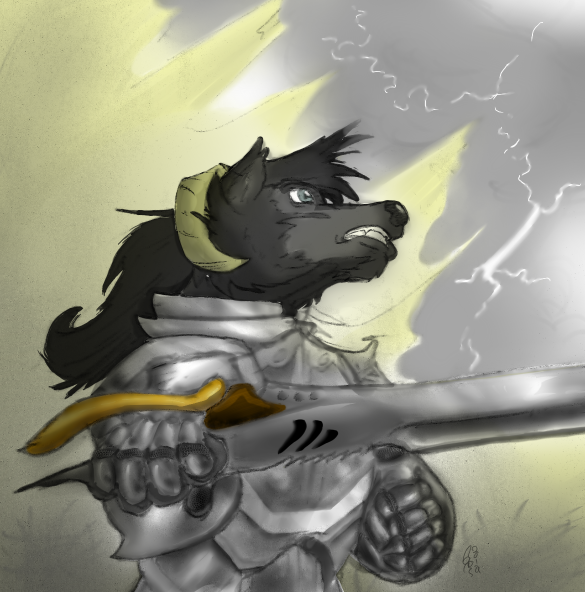 wolf in battle
