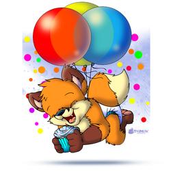 Bouncin Birthday Balloon Baby Fox