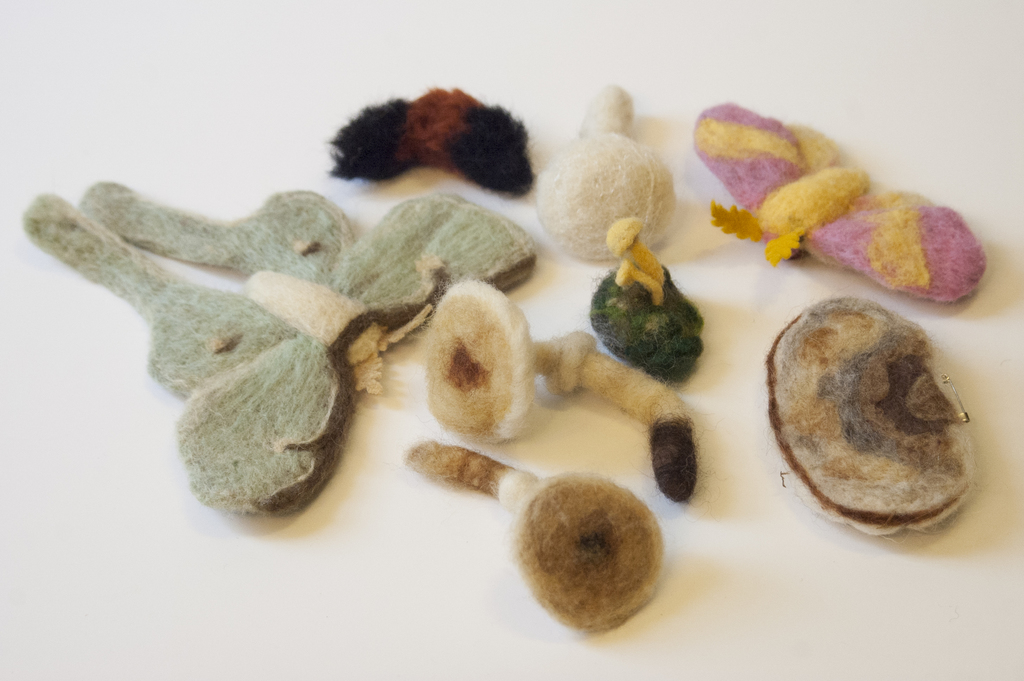 Felted Forest Brooches and Hair Clips