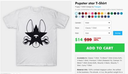 Teepublic (and others) pupster star