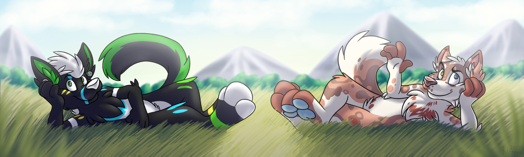 [C]Two lazy farts laying in grass