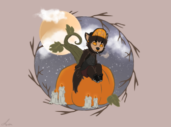 Inktober Day 2:Electric Boogaloo (Spooky Doggu)