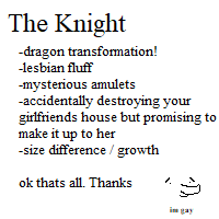 Most recent image: The Knight