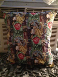 Disney Beauty and the Beast Stained Glass Throw Pillow For Sale