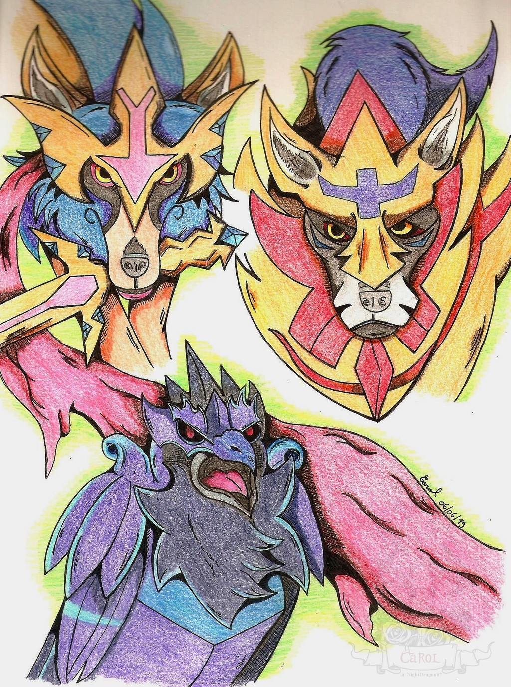 Wolves and raven