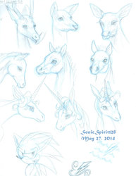 Deer, Foal, and the Last Unicorn Sketches